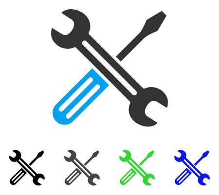 Spanner And Screwdriver flat vector pictogram. Colored Spanner and screwdriver gray, black, blue, green pictogram versions. Flat icon style for application design. Illustration