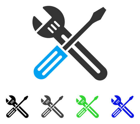 Spanner And Screwdriver flat vector pictograph. Colored Spanner and screwdriver gray, black, blue, green icon variants. Flat icon style for web design.