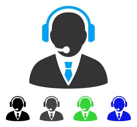 Support Manager flach Vektor-Piktogramm. Farbige Support-Manager grau, schwarz, blau, grün Icon-Versionen. Flache Icon-Stil für Grafik-Design. Vektorgrafik