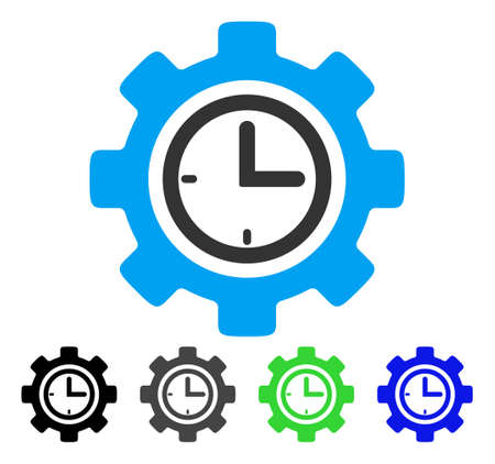 Time Setup Gear flat vector pictogram. Colored time setup gear gray, black, blue, green pictogram versions. Flat icon style for web design.