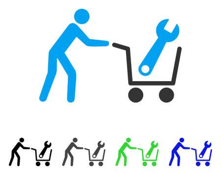 Strumenti di acquisto piatto illustrazione vettoriale. Strumenti colorati che acquistano versioni di pittogrammi grigi, neri, blu, verdi. Stile icona piatta per la progettazione grafica. Vettoriali