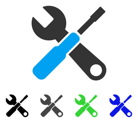 Tools flat vector illustration. Colored tools gray, black, blue, green pictogram variants. Flat icon style for web design. Illustration