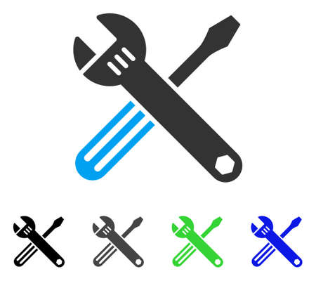 Tools flat vector pictogram. Colored tools gray, black, blue, green pictogram versions. Flat icon style for application design.