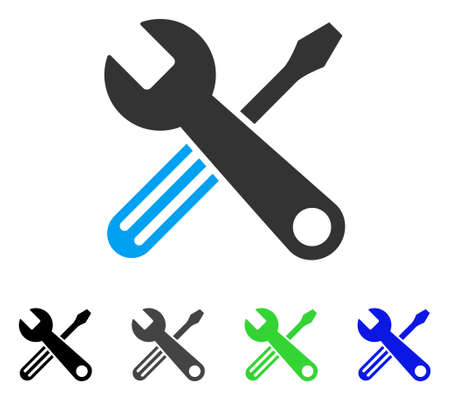 Tools flat vector illustration. Colored tools gray, black, blue, green icon versions. Flat icon style for graphic design.