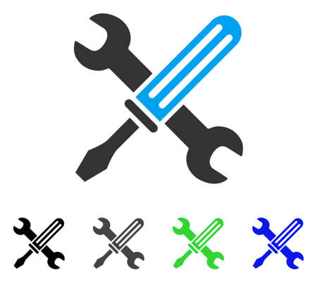Tools flat vector illustration. Colored tools gray, black, blue, green pictogram versions. Flat icon style for web design. Illustration