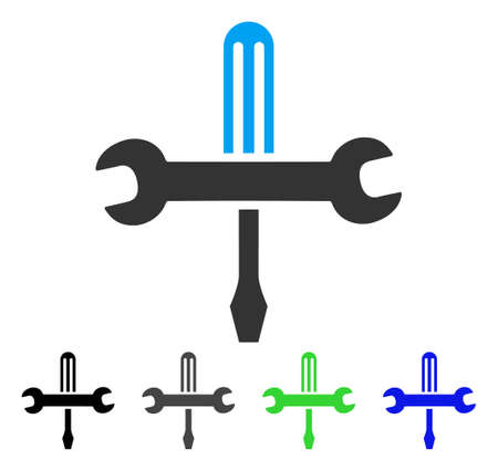 Tools flat vector icon. Colored tools gray, black, blue, green pictogram variants. Flat icon style for application design.
