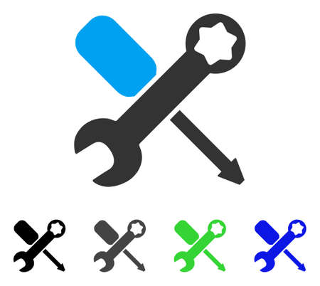 Tools flat vector pictograph. Colored tools gray, black, blue, green icon versions. Flat icon style for application design.