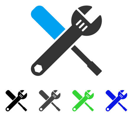 Tools flat vector icon. Colored tools gray, black, blue, green icon variants. Flat icon style for web design. Illustration
