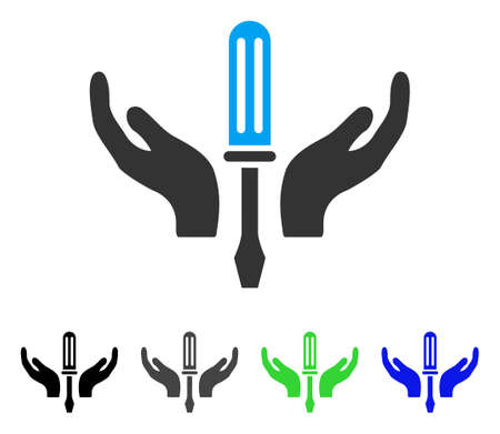 Tuning Screwdriver Maintenance flat vector icon. Colored tuning screwdriver maintenance gray, black, blue, green icon variants. Flat icon style for web design.