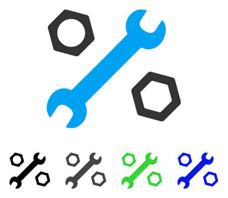 Wrench And Nuts flat vector pictogram. Colored wrench and nuts gray, black, blue, green icon variants. Flat icon style for application design.