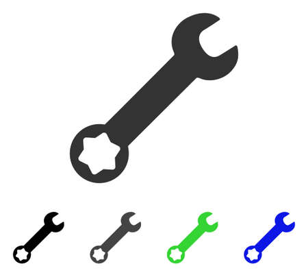Wrench flat vector icon. Colored wrench gray, black, blue, green icon variants. Flat icon style for graphic design.