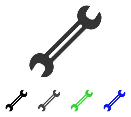 Wrench flat vector illustration. Colored wrench gray, black, blue, green icon variants. Flat icon style for graphic design.