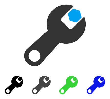 setup: Wrench flat vector pictogram. Colored wrench gray, black, blue, green pictogram variants. Flat icon style for web design. Illustration
