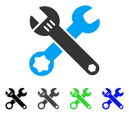 setup: Wrenches flat vector illustration. Colored wrenches gray, black, blue, green icon versions. Flat icon style for web design.