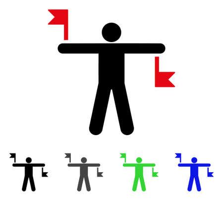 Segnale Flags piatta illustrazione vettoriale. Segnali di segnalazione colorati varianti di pittogrammi grigi, neri, blu, verdi. Stile icona piatta per la progettazione dell'applicazione.
