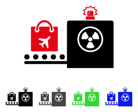 anti nuclear: Baggage Screening flat vector illustration. Colored baggage screening gray, black, blue, green pictogram versions. Flat icon style for application design. Illustration