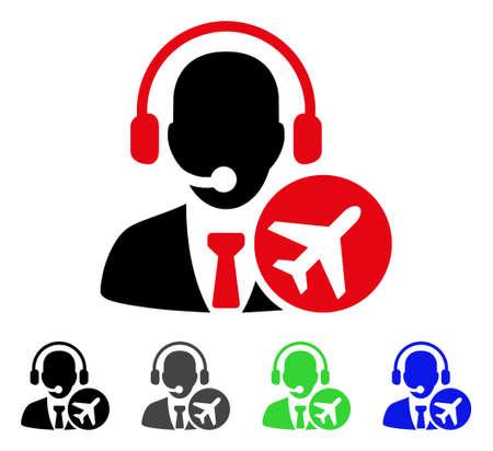 Air Dispatcher flat vector pictogram. Colored air dispatcher gray, black, blue, green pictogram versions. Flat icon style for web design. Ilustração
