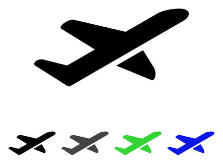 Airplane Takeoff flat vector illustration. Colored airplane takeoff gray, black, blue, green pictogram variants. Flat icon style for graphic design.