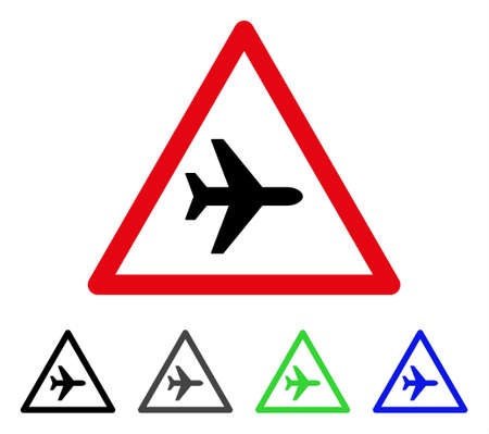 Airplane Warning flat vector pictograph. Colored airplane warning gray, black, blue, green icon versions. Flat icon style for web design.