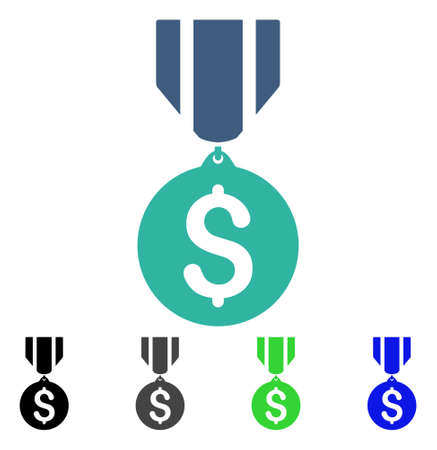 Dollar Medal flat vector pictogram. Colored dollar medal gray, black, blue, green icon variants. Flat icon style for graphic design. Illustration
