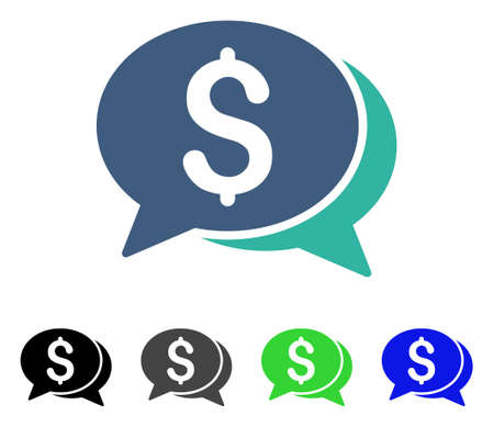 Money Chat flat vector icon. Colored money chat gray, black, blue, green icon versions. Flat icon style for graphic design.