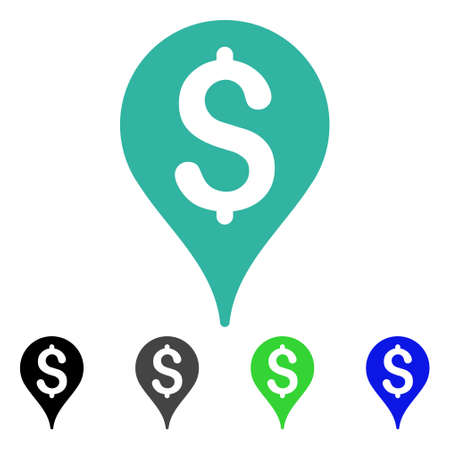 Bank Map Marker flat vector icon. Colored bank map marker gray, black, blue, green icon versions. Flat icon style for application design.