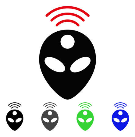 Alien Head flat vector pictograph. Colored alien head gray, black, blue, green icon variants. Illustration