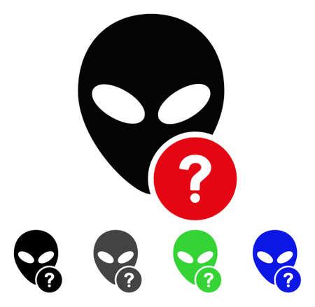 Alien Status flat vector pictogram. Colored alien status gray, black, blue, green icon variants. Illustration