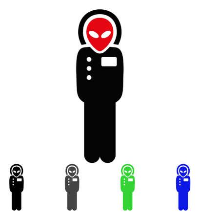 Alien Visitor Skafandr flat vector icon. Colored alien visitor skafandr gray, black, blue, green icon versions.
