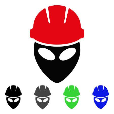 Alien Worker flat vector icon