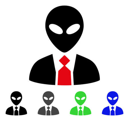 paranormal: Alien Boss flat vector pictogram. Colored alien boss gray, black, blue, green icon versions. Flat icon style for web design.