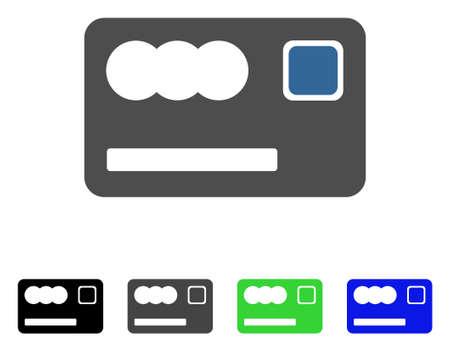 Bankkaart platte vectorillustratie. Gekleurde bankkaart grijze, zwarte, blauwe, groene pictogramversies.