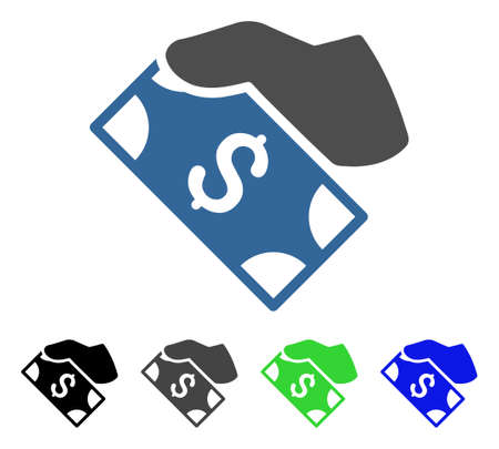 Cash Payment Hand flat vector pictogram. Colored cash payment hand gray, black, blue, green icon variants.