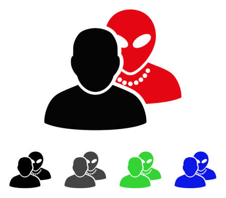 paranormal: Human Alien Contacts flat vector pictograph. Colored human alien contacts gray, black, blue, green icon versions.