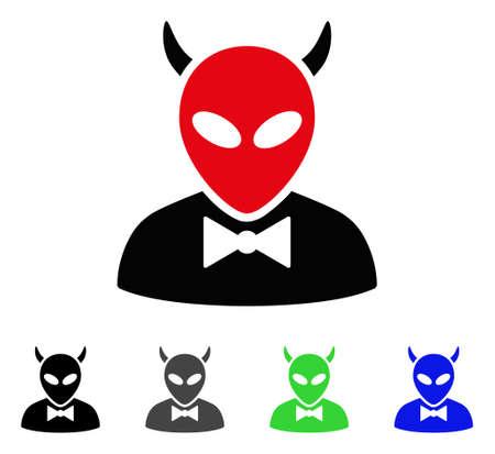 Devil flat vector pictogram. Colored devil gray, black, blue, green icon versions. Illustration