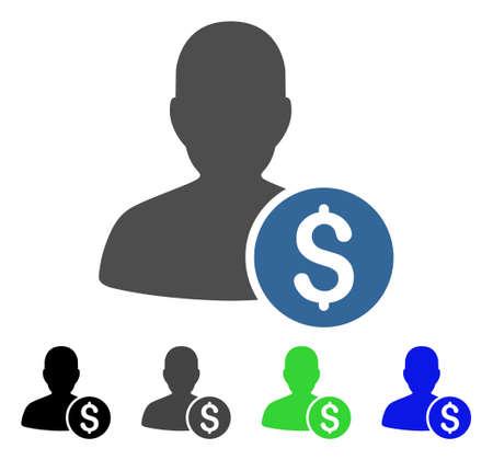 investor: Investor flat vector illustration. Colored investor gray, black, blue, green icon versions.