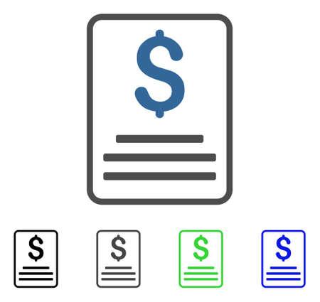 Flache Vektorillustration des Rechnungsbudgets. Farbiges Rechnungsbudget graue, schwarze, blaue, grüne Symbolvarianten.