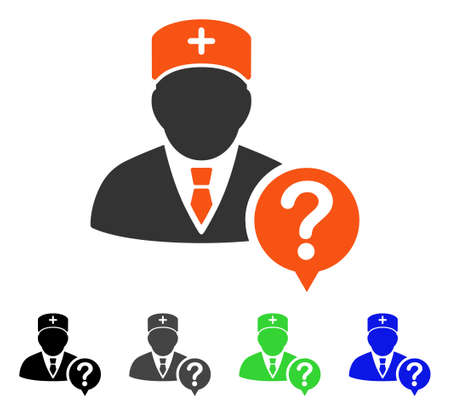 Doctor Status flat vector icon. Colored doctor status gray, black, blue, green pictogram versions. Flat icon style for graphic design. Illustration