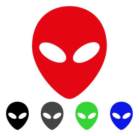 Alien Head flat vector pictogram. Colored alien head gray, black, blue, green icon versions. Flat icon style for web design. Illustration