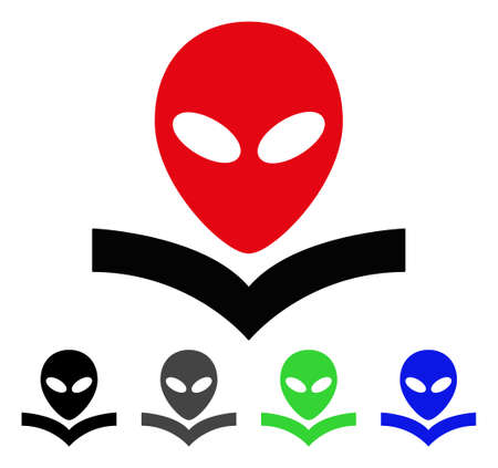 Alien Knowledge Book flat vector pictogram. Colored alien knowledge book gray, black, blue, green icon versions. Flat icon style for application design. Illustration