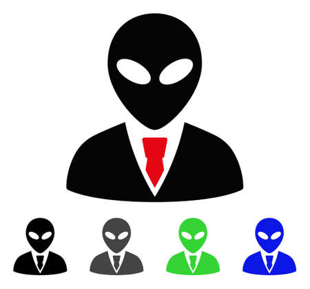 paranormal: Alien Manager flat vector icon. Colored alien manager gray, black, blue, green icon variants. Flat icon style for graphic design.
