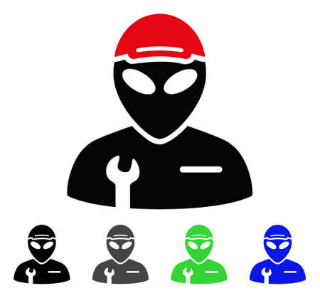 Alien Serviceman flat vector icon. Colored alien serviceman gray, black, blue, green icon variants. Flat icon style for graphic design.