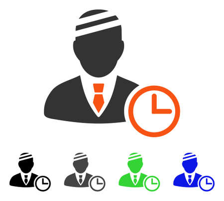 Man Patient Clock flat vector pictograph. Colored man patient clock gray, black, blue, green pictogram variants. Flat icon style for graphic design.