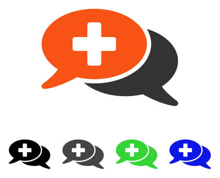Medical Chat flat vector pictogram. Colored medical chat gray, black, blue, green icon versions. Flat icon style for graphic design.