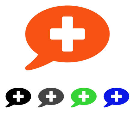 Medical Message flat vector pictograph. Colored medical message gray, black, blue, green pictogram variants. Flat icon style for application design.