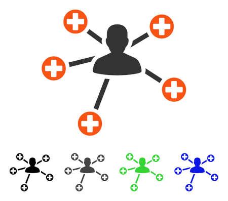 Medische patiënt verbindingen platte vector pictogram. Gekleurde medische patiëntverbindingen grijze, zwarte, blauwe, groene pictogramversies. Platte pictogramstijl voor applicatieontwerp.