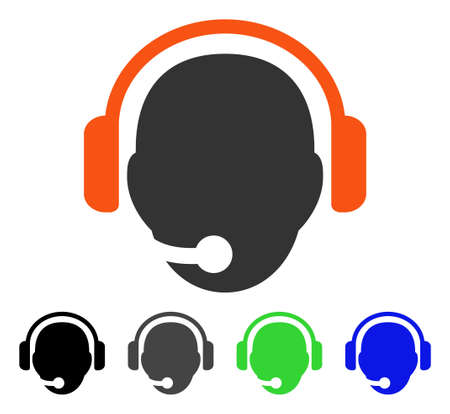 hotline: Operator Head flat vector pictogram. Colored operator head gray, black, blue, green icon versions. Flat icon style for graphic design.
