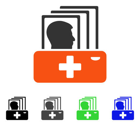 Patient Catalog flat vector pictogram. Colored patient catalog gray, black, blue, green pictogram versions. Flat icon style for web design.