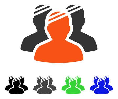 Flaches Vektorpiktogramm der Patientengruppe. Farbige Patientengruppen grau, schwarz, blau, grüne Symbolversionen. Flache Ikonenart für Anwendungsdesign.