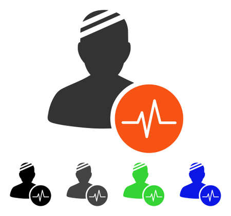 Patient Pulse flat vector icon. Colored patient pulse gray, black, blue, green pictogram versions. Flat icon style for graphic design.